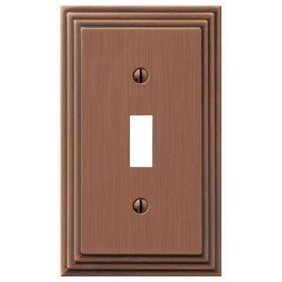 Tiered 1 Toggle Wall Plate - Antique Copper Cast