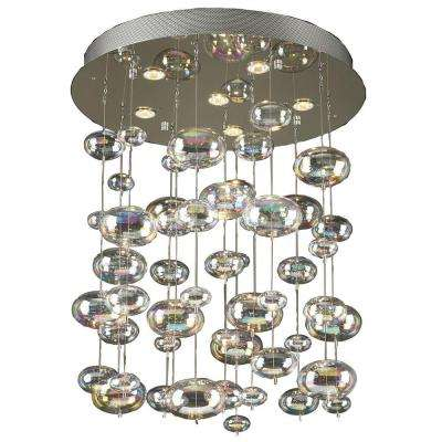 6-Light Polished Chrome Chandelier with Iridescent Glass Shade