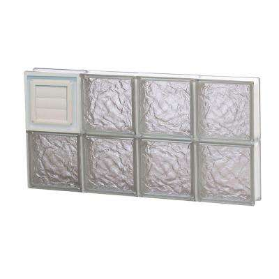 31 in. x 15.5 in. x 3.125 in. Ice Pattern Frameless Glass Block Window with Dryer Vent