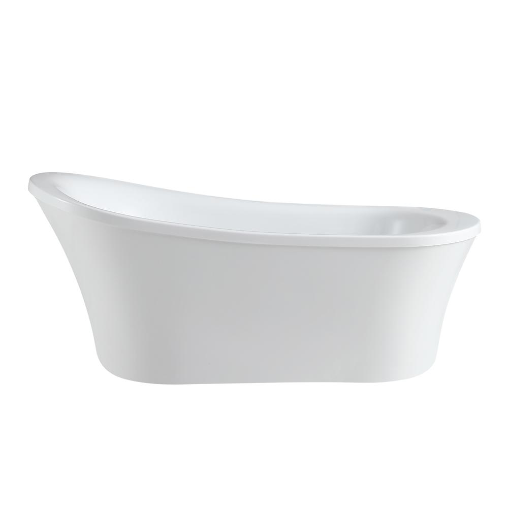 OVE Decors Rachel 70 in. Reversible Drain Bathtub in White