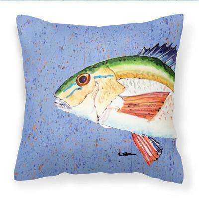 14 in. x 14 in. Multi-Color Lumbar Outdoor Throw Pillow Rainbow Trout on Blue