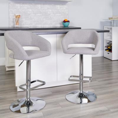 32 in. Adjustable Height Gray Cushioned Bar Stool