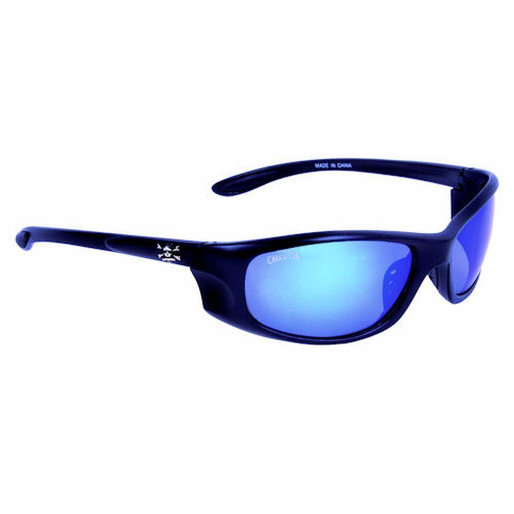 Black Frame Los Cabos Sunglasses with Blue Mirror Lenses