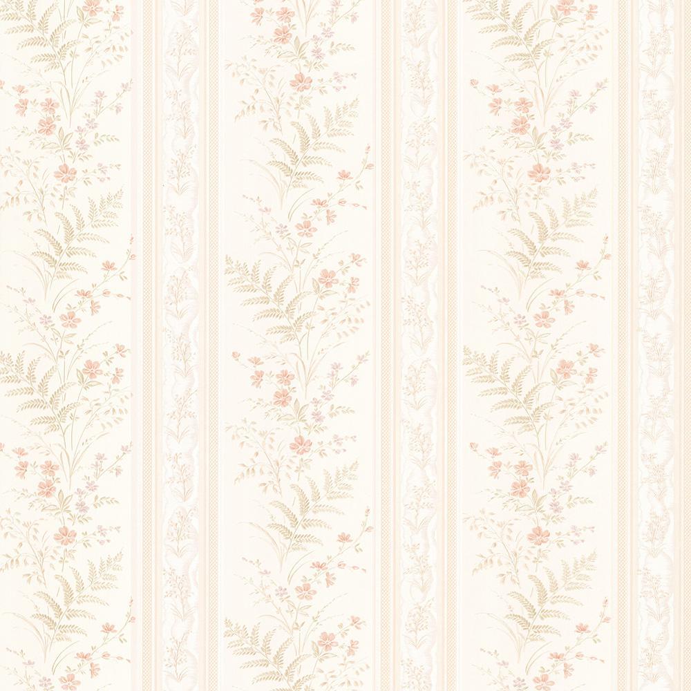 Brewster Bell Peach Wildflower Stripe Wallpaper Sample