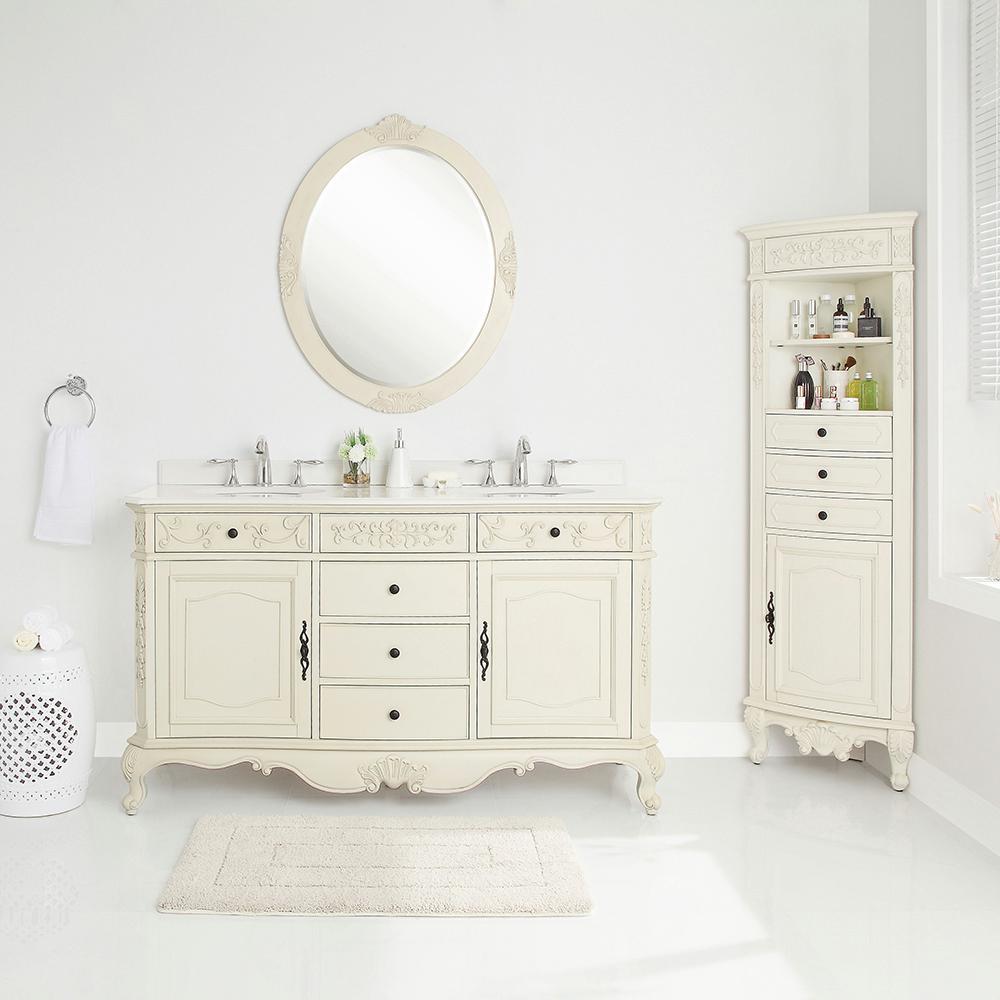 Winslow 60 in. W x 22 in. D Vanity in Antique White with Marble Vanity Top in White with White Sinks
