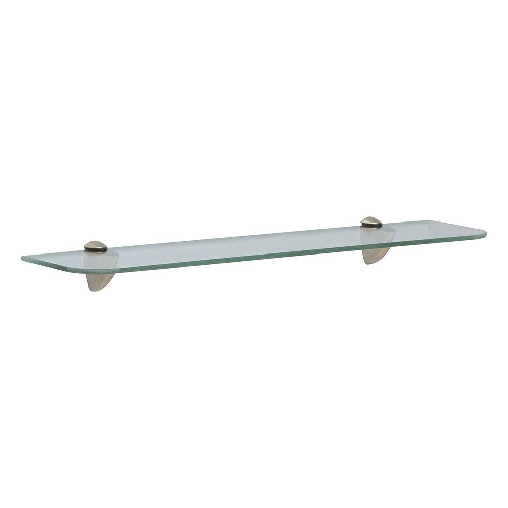 Knape & Vogt 24 in. W x 6 in. D Wall Mounted Satin Nickel Glass Decorative Shelf Kit