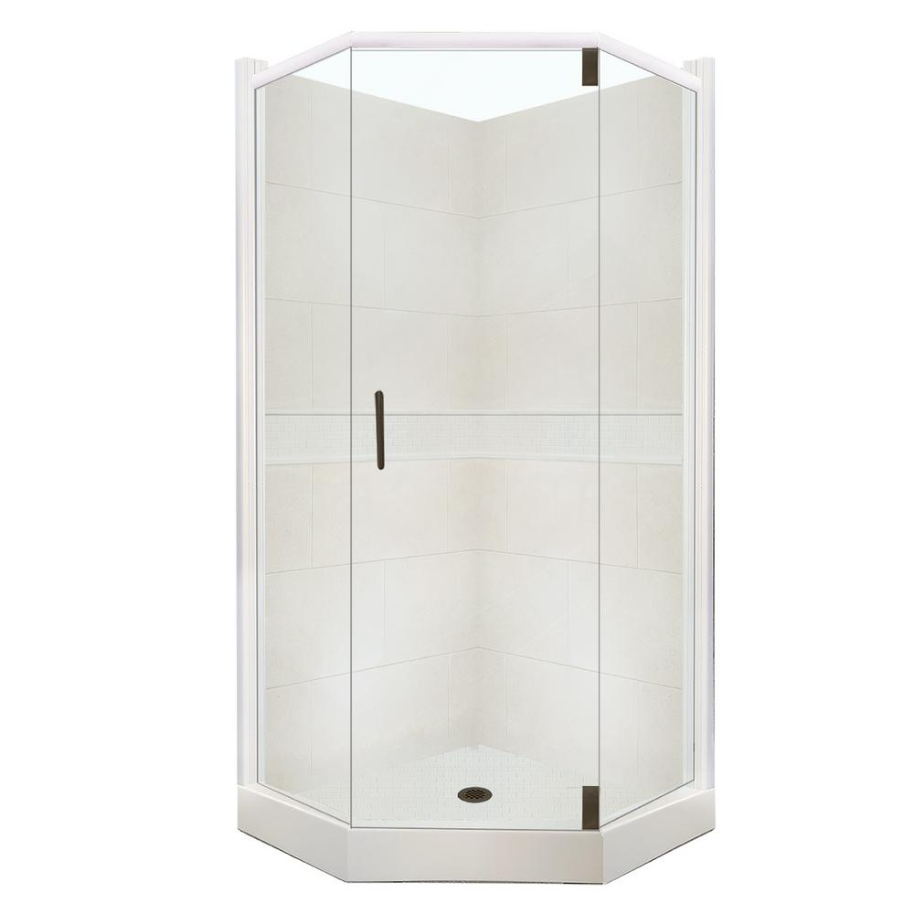 American Bath Factory Clic Grand Hinged 36 In X 80 Neo Angle Shower Kit Natural Buff And Old Bronze Hardware