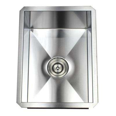 Undermount 16-Gauge Stainless Steel 15 in. x 20 in. x 10 in. Prep / Bar / Island Single Bowl Zero Radius Kitchen Sink