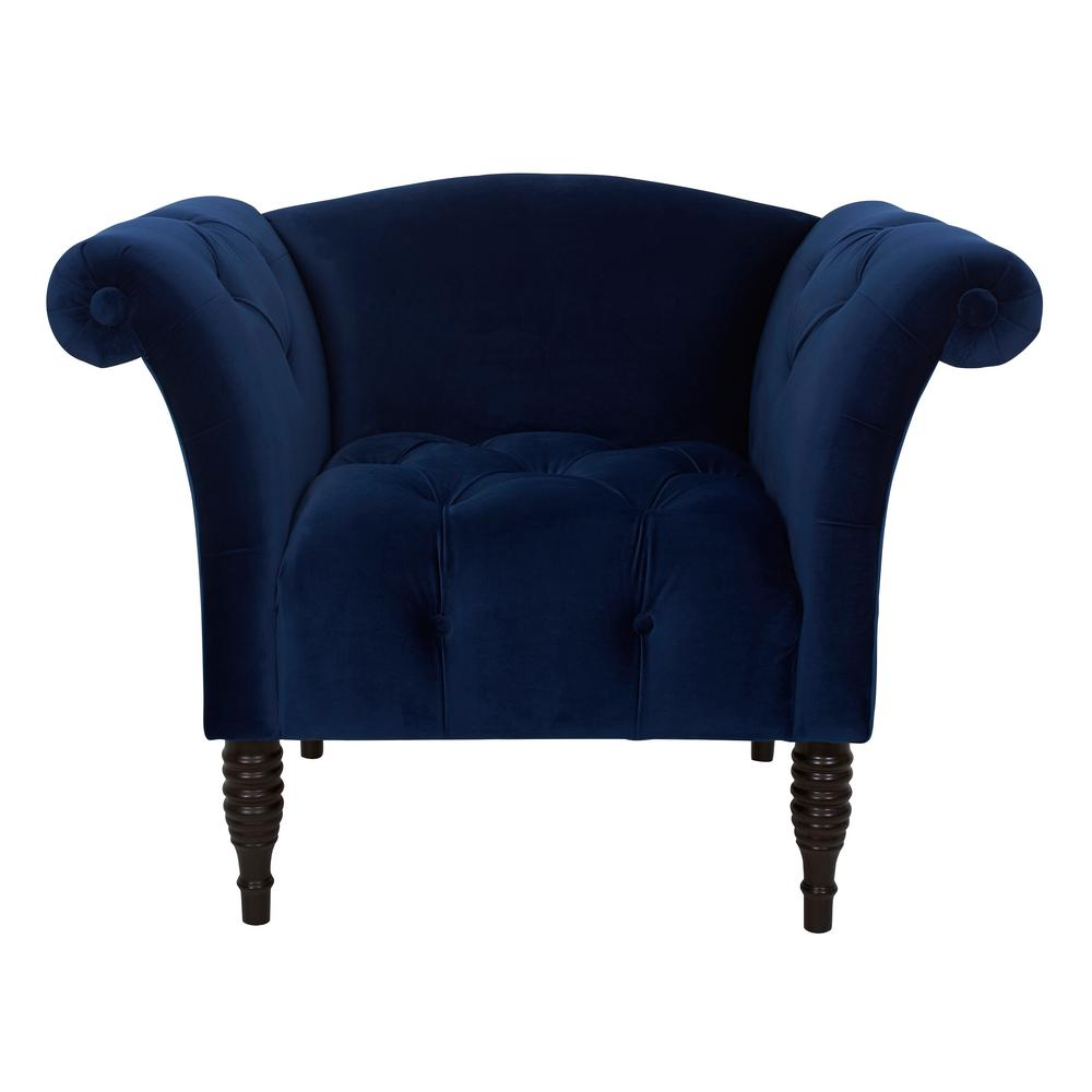 Jennifer Taylor Danica Navy Blue Velvet Hand Tufted Arm Chair