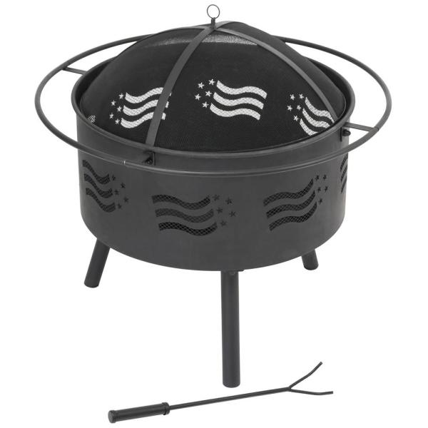 30 in. x 30 in. x 31 in. Round Metal Outdoor Wood and Coal Fire Bowl BBQ Fire Pit With Poker and Mesh Spark Screen Cover