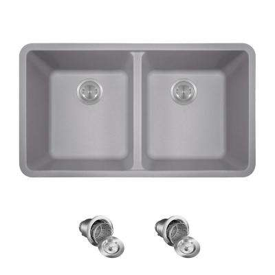 All-in-One Undermount Quartz 32.5 in. 0-Hole Double Bowl Kitchen Sink in Silver