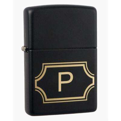 "Black Matte Lighter with Initial ""P"""