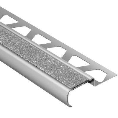 Trep-G-B Brushed Stainless Steel/Transparent 7/16 in. x 8 ft. 2-1/2 in. Metal Stair Nose Tile Edging Trim