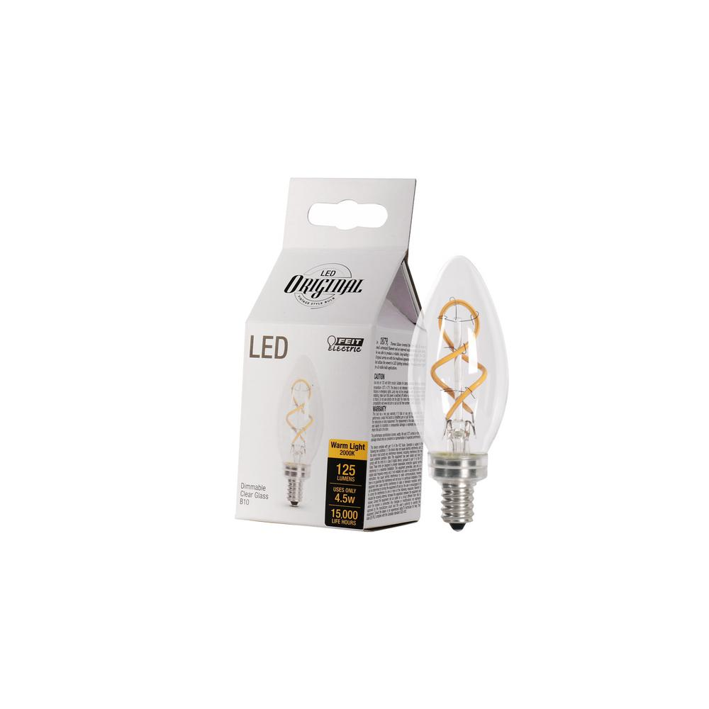 Feit Electric 25W Equiv B10 Candelabra Dimmable LED Clear Glass Vintage Light Bulb With Spiral Filament Soft White (4-Pack)
