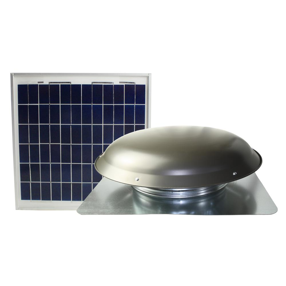 Ventamatic Cool Attic 433 CFM Grey Solar Powered Roof Attic Vent with Roof-Mounted Solar Panel