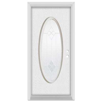 36 in. x 80 in. Geometric Left-Hand Full Oval Zinc Finished Fiberglass Oak Woodgrain Prehung Front Door Brickmould