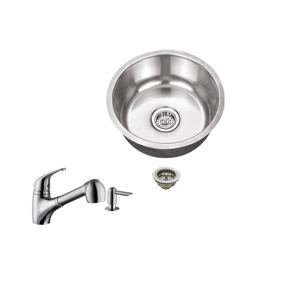 Undermount 17 in. 18-Gauge Stainless Steel Bar Sink in Br...