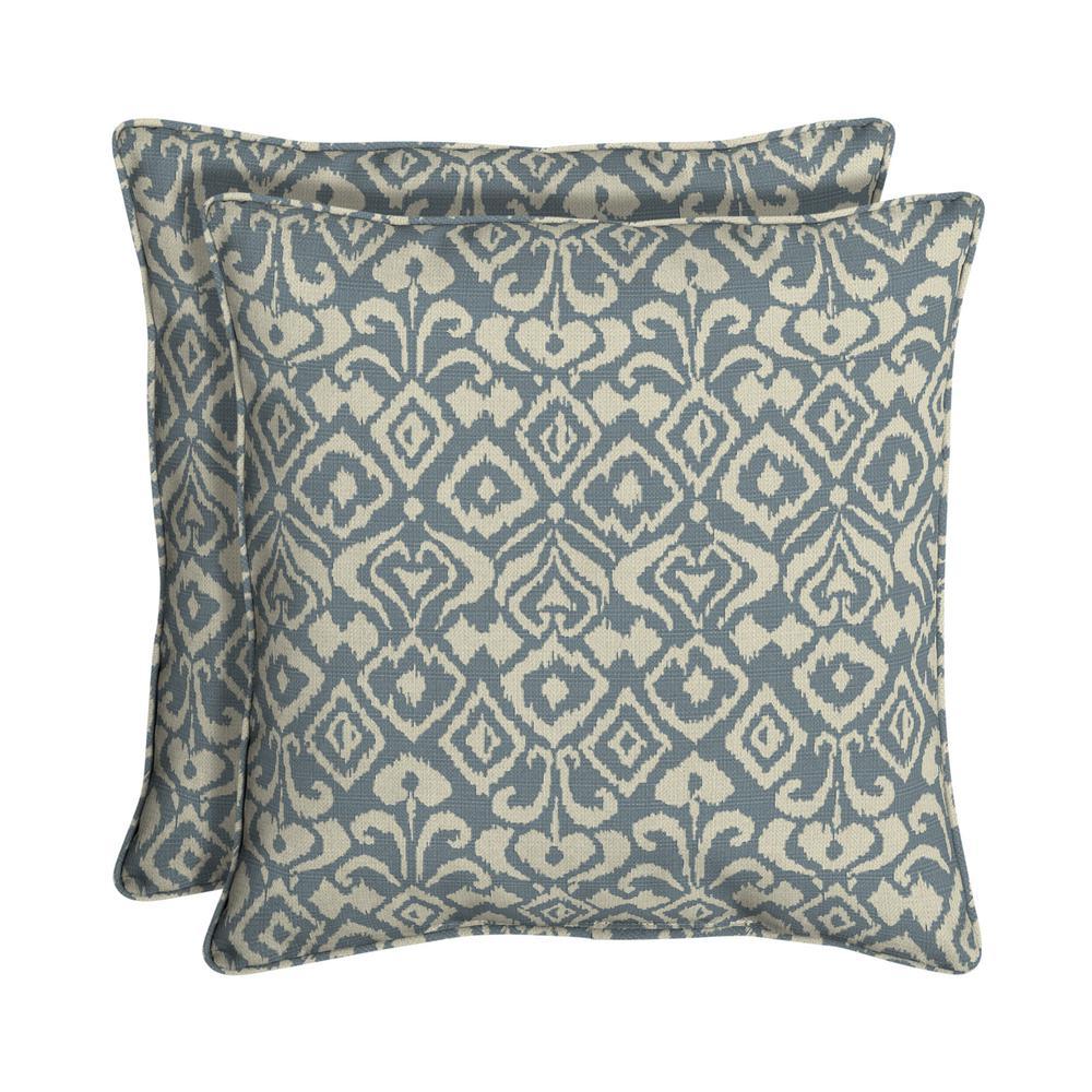 Sunbrella Spades Denim Square Outdoor Throw Pillow (2-Pack)