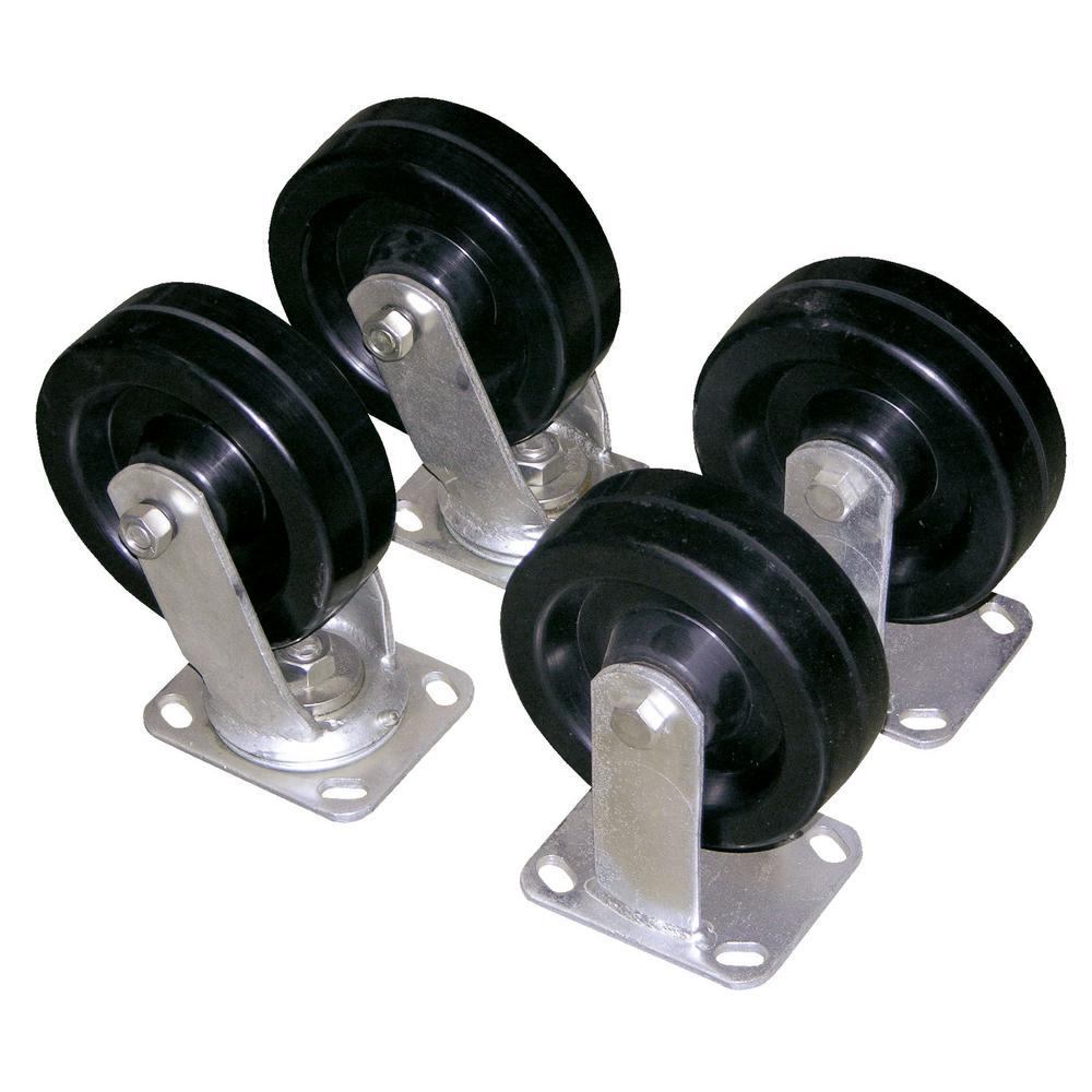 6 in. x 2 in. Glass Filled Nylon Caster Kit - Set of 4 - 4,800 lb. Capacity