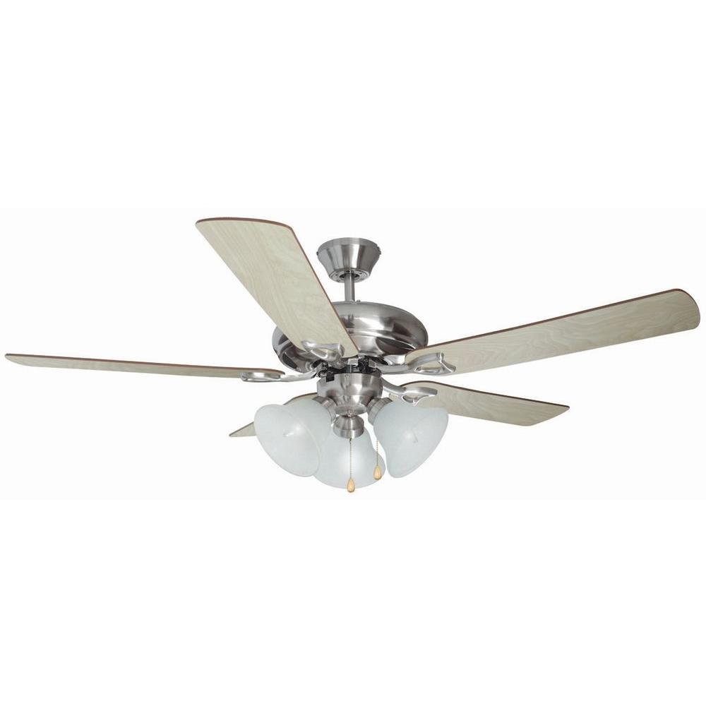 Pink With A Fan 6 Blades : Design house bristol in light satin nickel ceiling