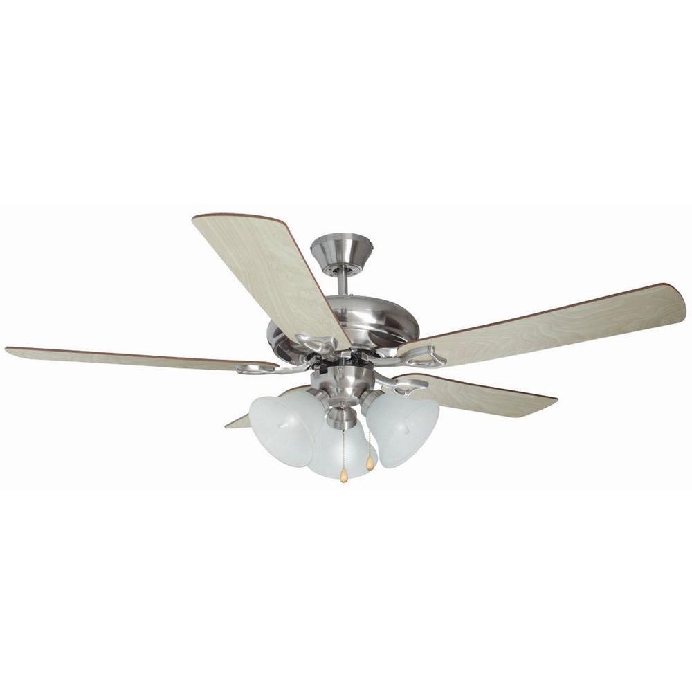 Bristol 52 in. 3-Light Satin Nickel Ceiling Fan