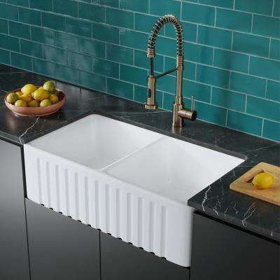 Delice Duo Farmhouse Sink 33 in. Double Bowl Kitchen Sink Ceramic Composite
