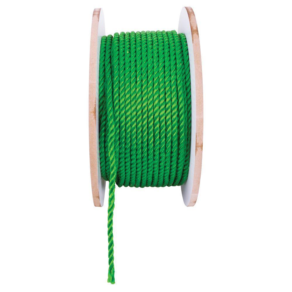 3/8 in. x 1 ft. Polypropylene Twist Rope, Green
