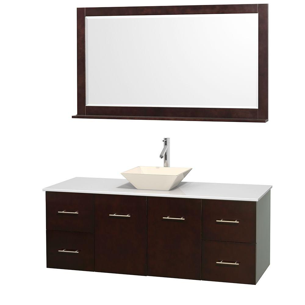 Wyndham Collection Centra 60 in. Vanity in Espresso with Solid-Surface Vanity Top in White, Bone Porcelain Sink and 58 in. Mirror