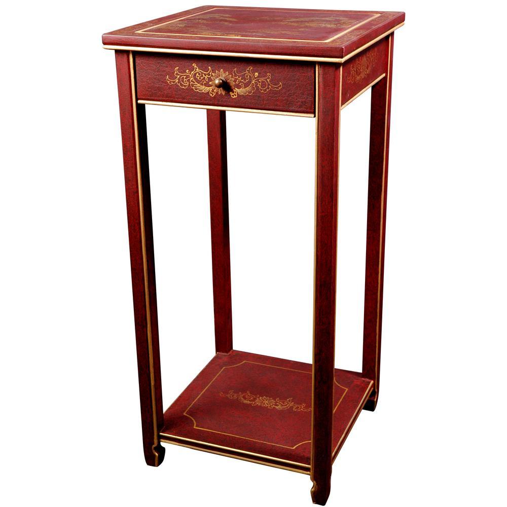 Oriental Furniture 14 in. Lacquer Landscape Oriental Pedestal in Red