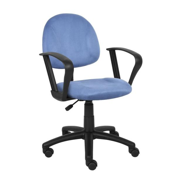 Boss Blue Microfiber Deluxe Posture Chair with Loop Arms B327-BE