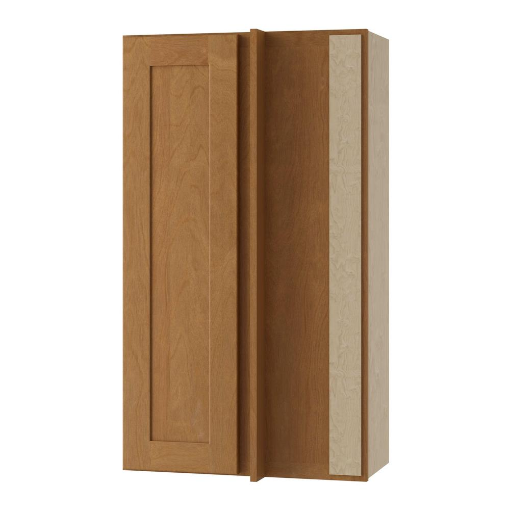 Home Decorators Collection Hargrove Assembled 24x42x12 in. Single Door Hinge Right Wall Kitchen Blind Corner Cabinet in Cinnamon