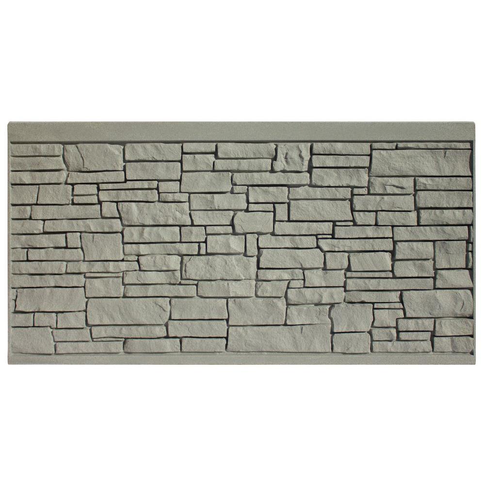 SimTek 4 ft. H x 8 ft. W EcoStone Gray Composite Fence Panel