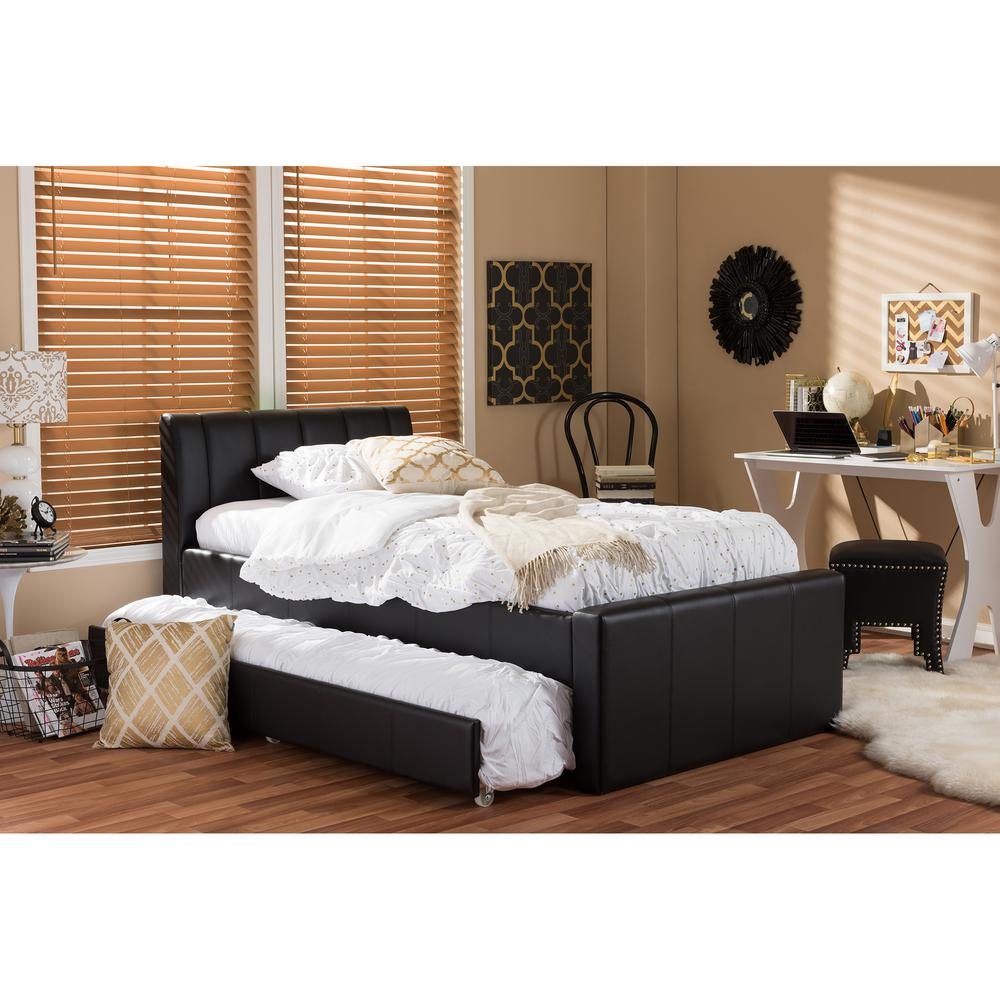 Baxton Studio Cosmo Black Faux Leather Twin Size Trundle Bed