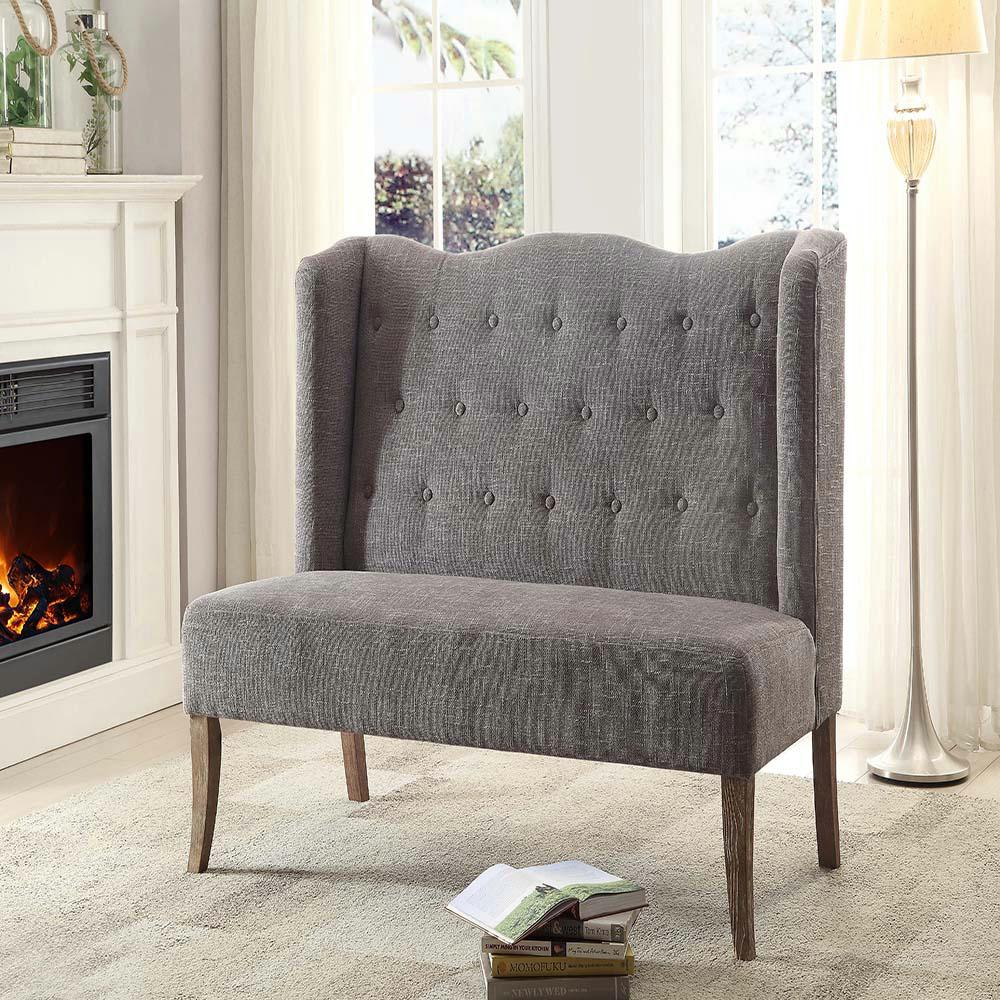 linon home decore linon home decor brushed gray wash linen loveseat 10302