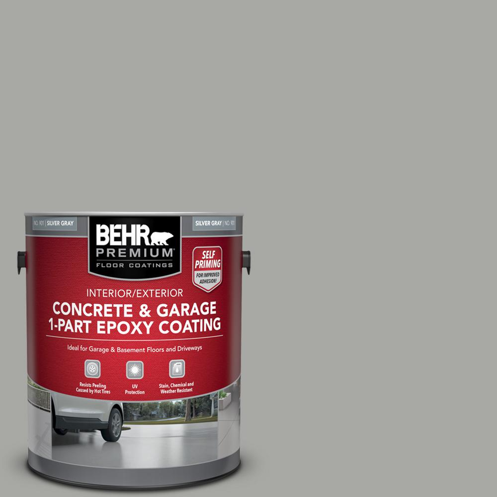 BEHR Premium 1 gal. #901 Silver Gray Self-Priming 1-Part Epoxy Satin Interior/Exterior Concrete and Garage Floor Paint