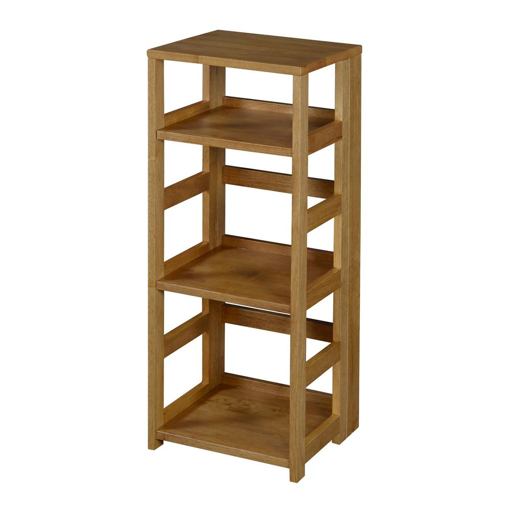 Flip Flop Medium Oak 3-Shelf Square Folding Bookcase
