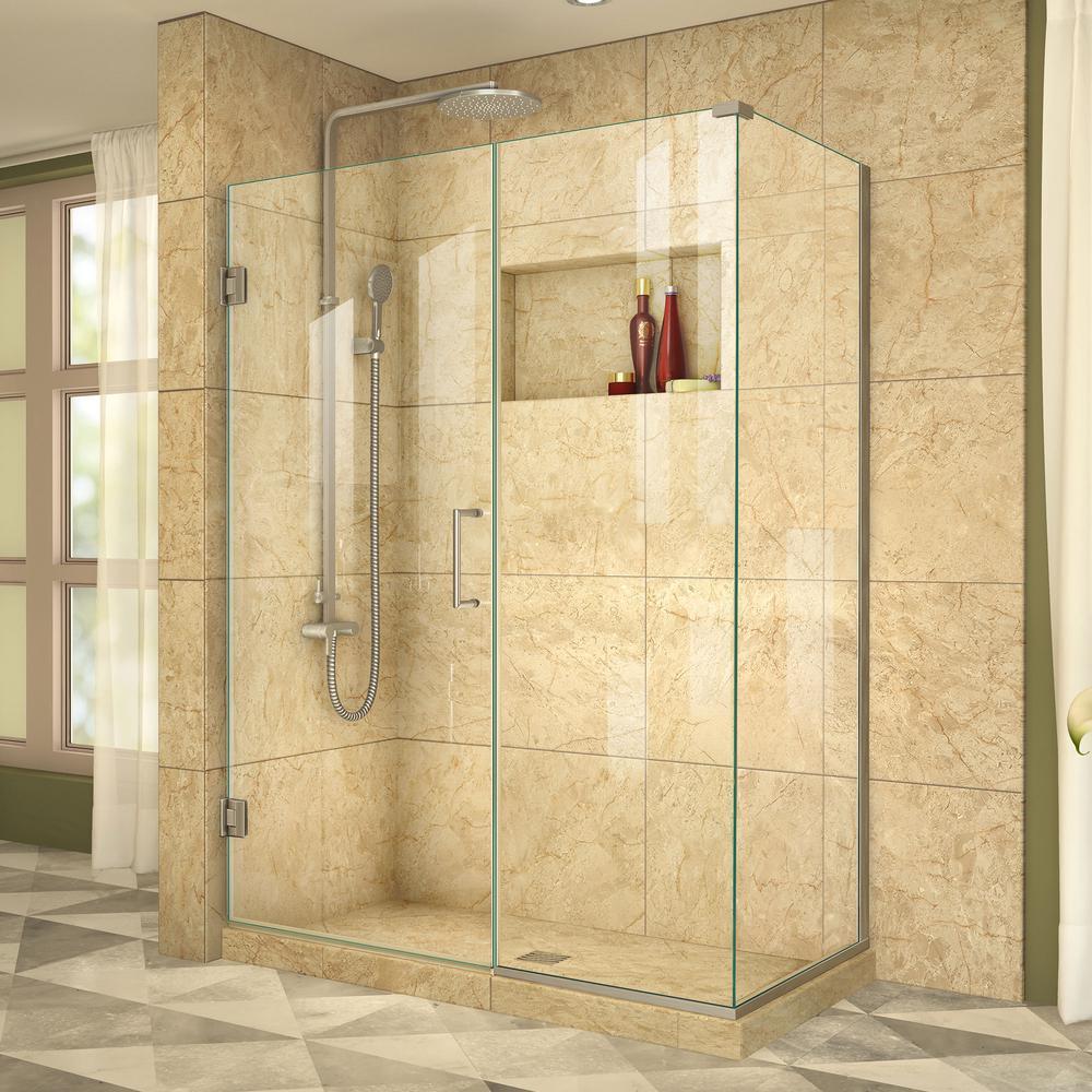 Unidoor Plus 34-3/8 in. x 46-1/2 in. x 72 in. Semi-Frameless Hinged Corner Shower Enclosure in Brushed Nickel