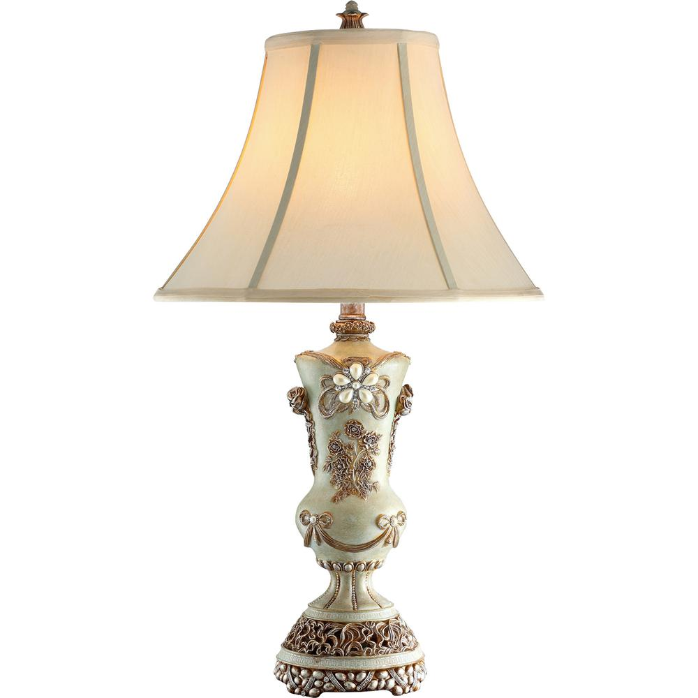Ore International 28 In H White Vintage Rose Table Lamp