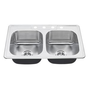 American Standard Colony Pro Drop-In Stainless Steel 32.36 inch 4-Hole Double Basin Kitchen Sink Kit by American Standard