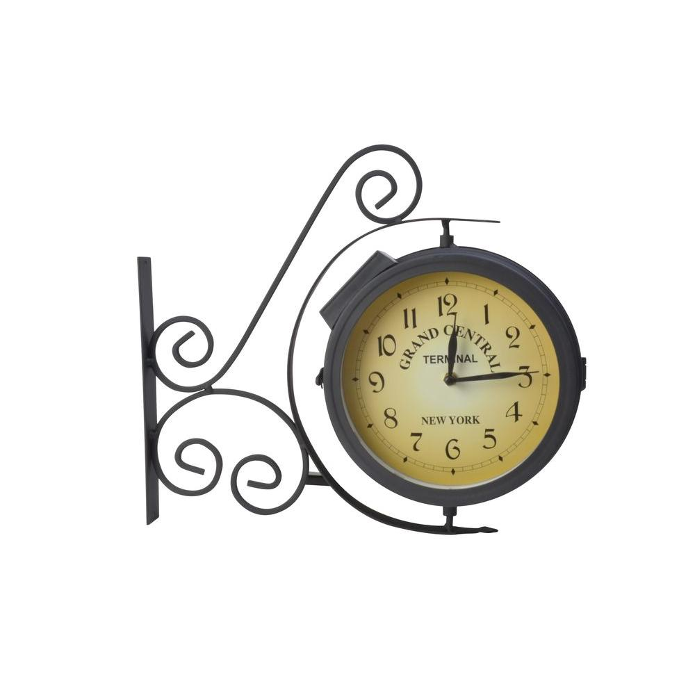 Moonrays outdoor metal black led wall clock with thermometer 95005 moonrays outdoor metal black led wall clock with thermometer 95005 the home depot amipublicfo Images