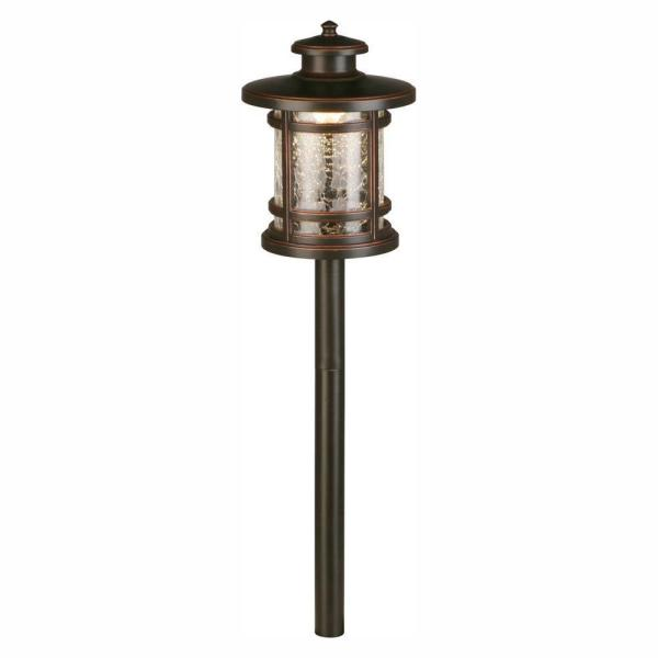 3-Watt Oil Rubbed Bronze Outdoor Integrated LED Landscape Path Light with Crackled Shade