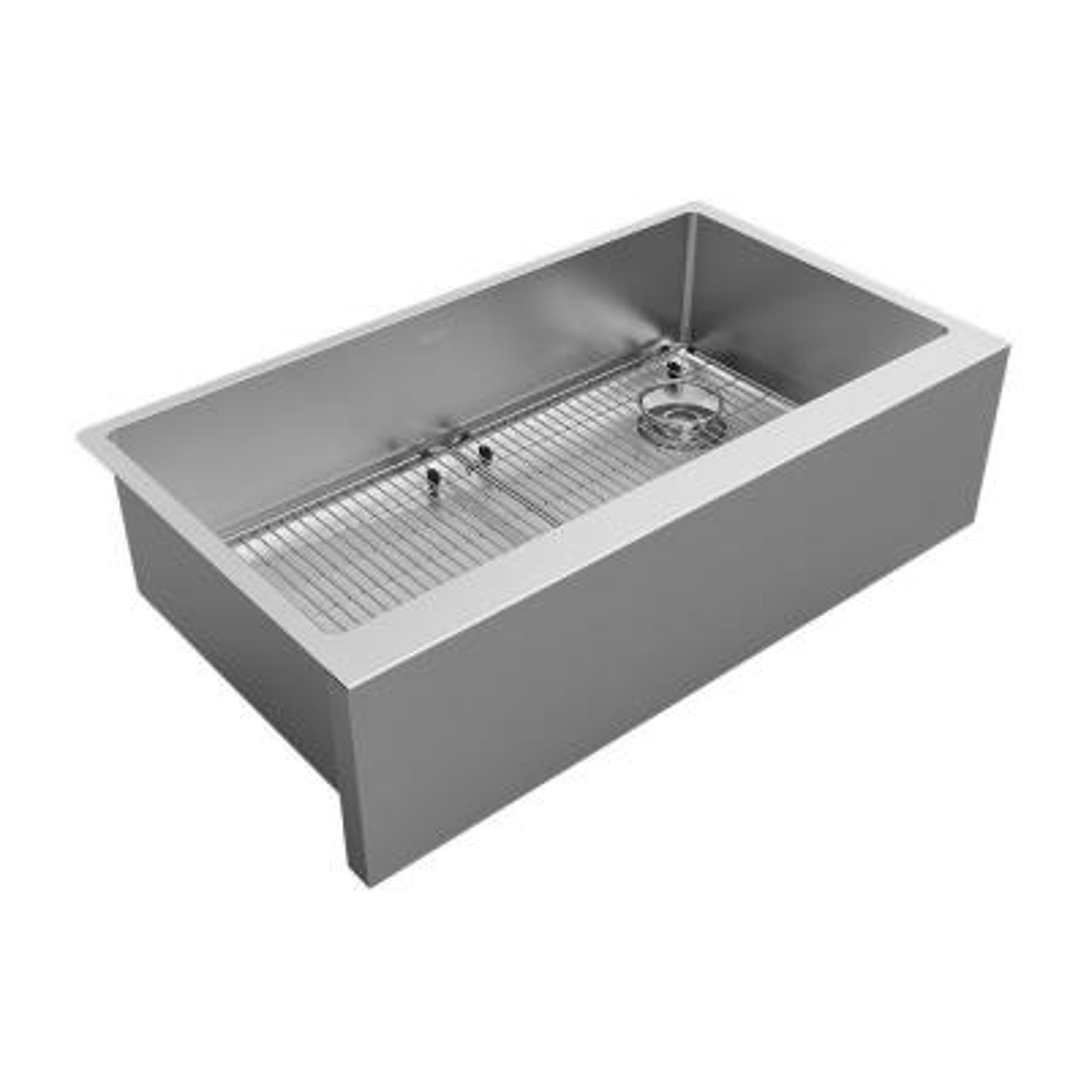 Crosstown 16-Gauge Stainless Steel 35-7/8 in. Single Bowl Tall Farmhouse Apron Kitchen Sink Kit