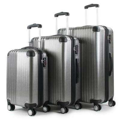 Melrose Silver 3-Piece Polycarbonate Expandable Spinner Luggage with TSA Lock and Corner Guards