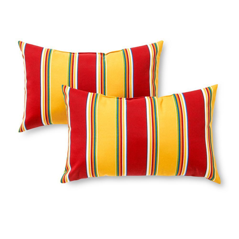 Carnival Stripe Lumbar Outdoor Throw Pillow (2-Pack)
