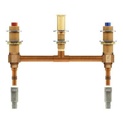 2-Handle 3-Hole Roman Tub 10 in. Center Rough-In Valve - 1/2 in. Wirsbo PEX Connection