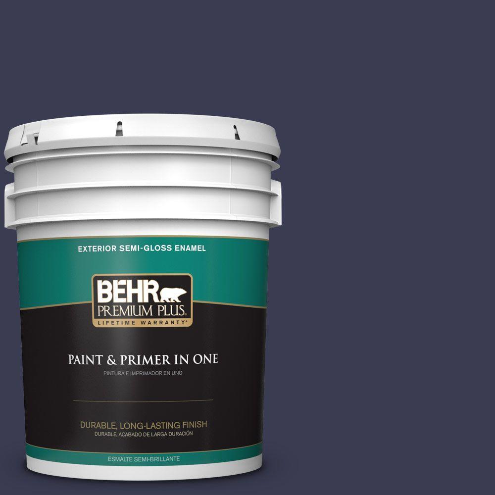 5 gal. #HDC-WR16-03 Blueberry Tart Semi-Gloss Enamel Exterior Paint