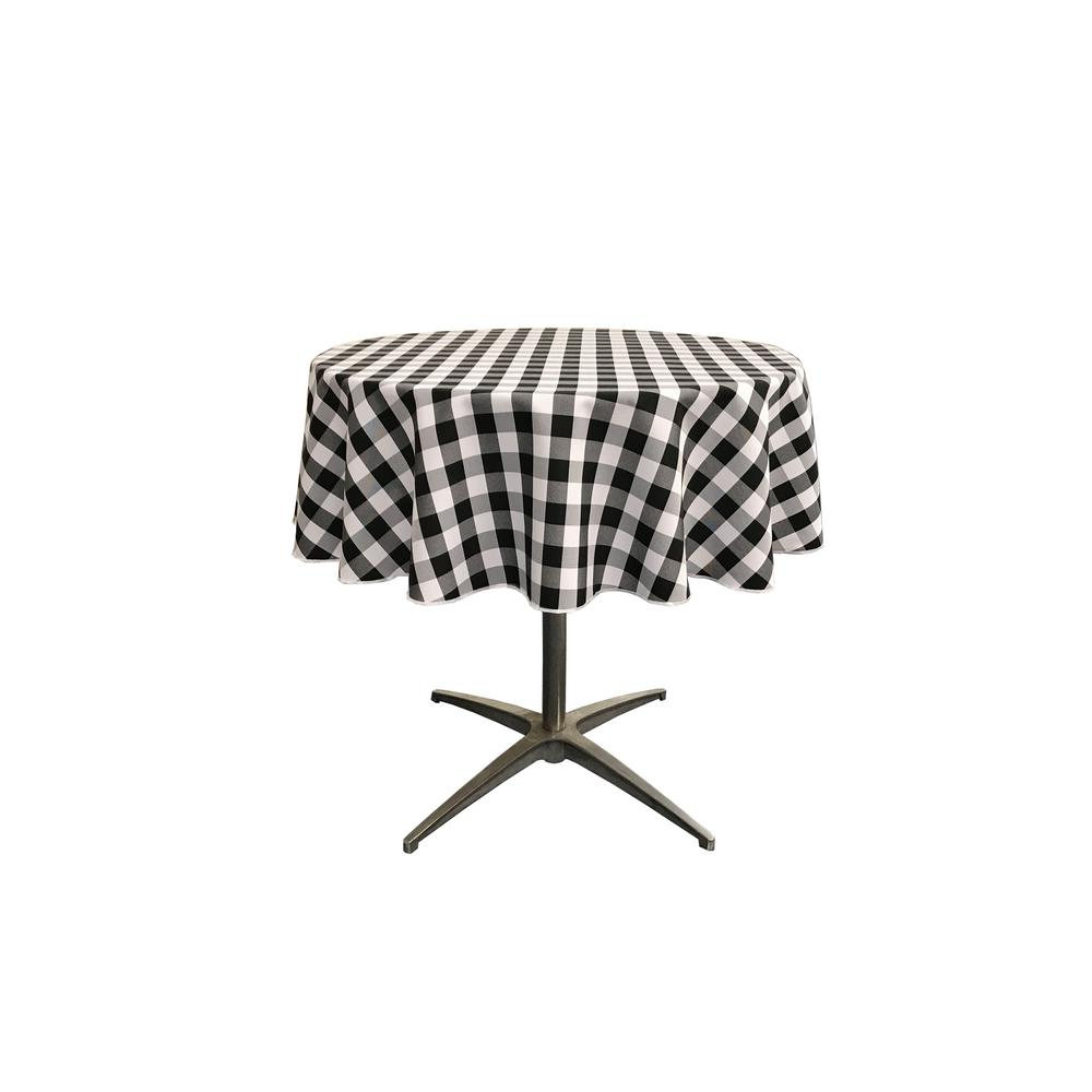La Linen 51 In White And Black Polyester Gingham Checkered Round