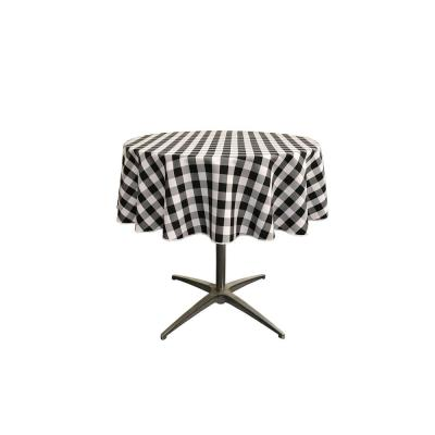 """""""58 in. White and Black Polyester Gingham Checkered Round Tablecloth"""""""