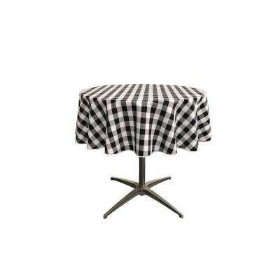 """58 in. White and Black Polyester Gingham Checkered Round Tablecloth"""