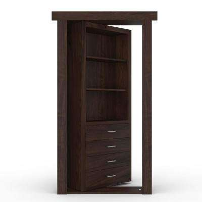 32 in. x 80 in. Flush Mount Assembled Dresser Door Hickory Dark Brown Stained Left-Hand Inswing